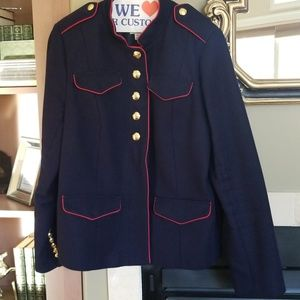 Br Olivia Palermo navy red gold military jacket xl
